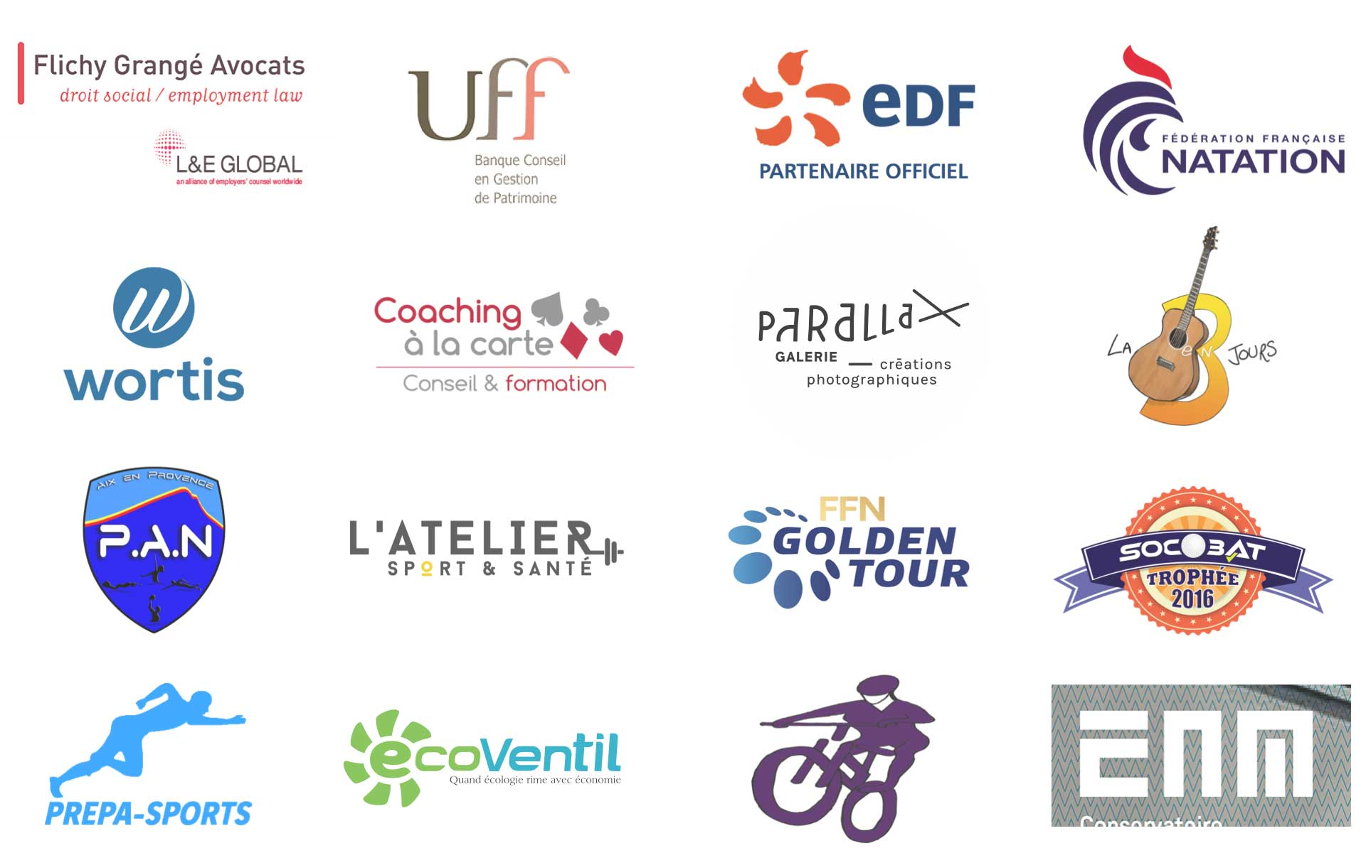Nos références : les logos des dernières entreprises avec lesquelles nous avons travaillé.